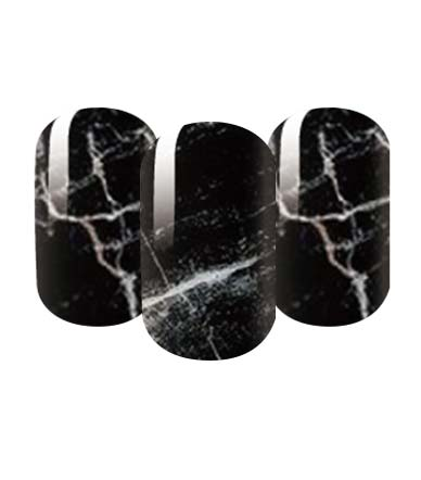 Marble effect black nail wraps